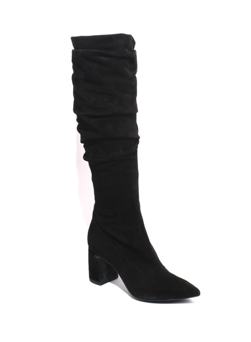 Black Suede Leather Slouchy Pointy Toe Heel Boots
