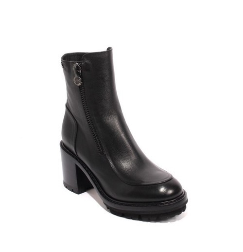 Black Leather Zip-Up Ankle Heel Boots