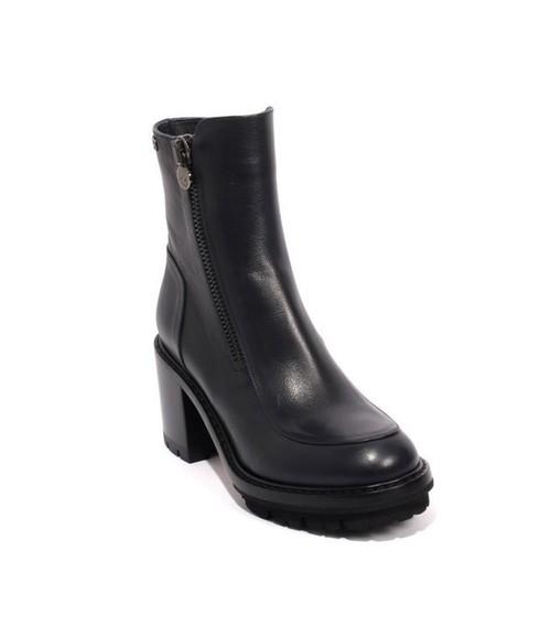 Dark Navy Leather Zip-Up Ankle Heel Boots
