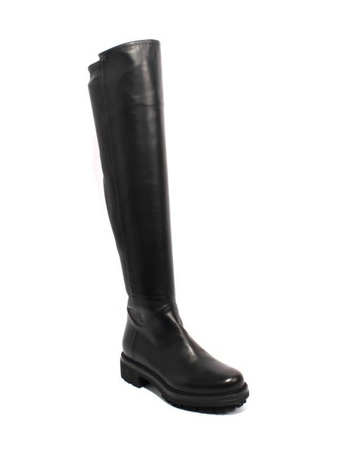 Black Leather / Stretch Over the Knee Zip Boots