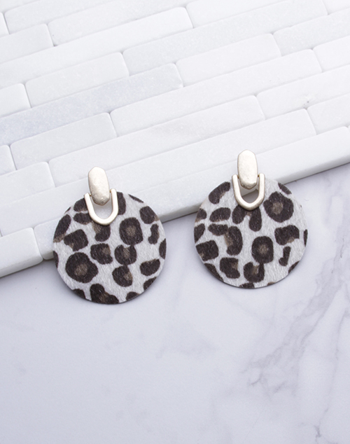 Large Circle Leopard Print Dangle - Gold