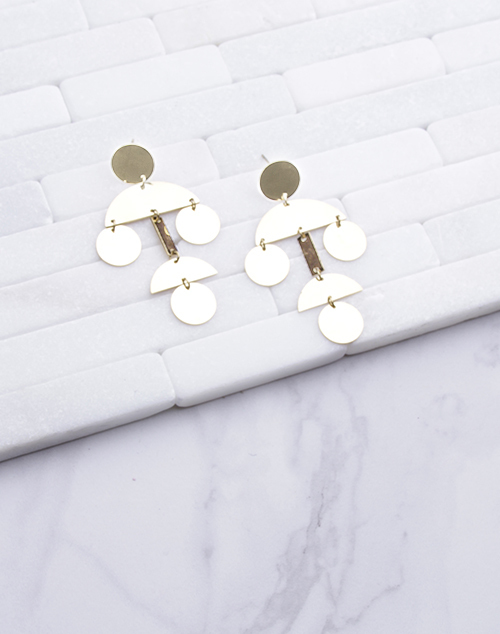 Geometric Shape chandelier Drop Earring - Gold