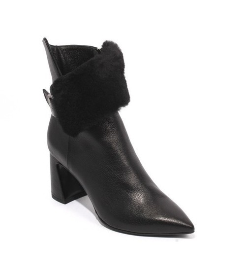 Black Leather Fur Cuff Pointy Zip Ankle Heel Boots