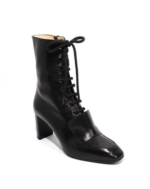 Black Leather / Zip Lace Up Ankle Heel Boots