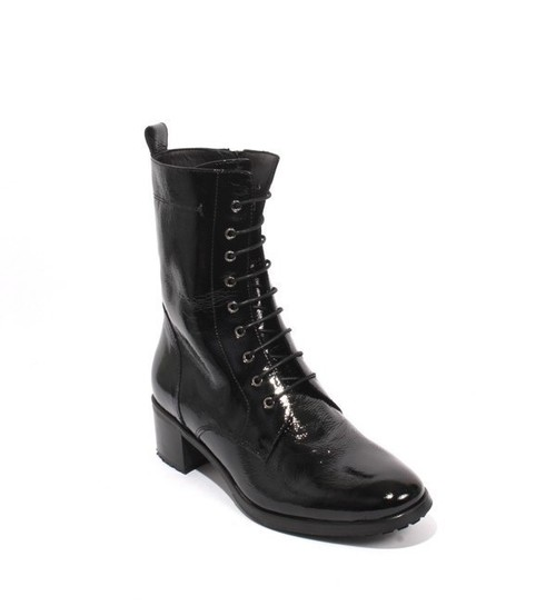 Black Patent Leather Lace-Up Zip Ankle Heel Boots