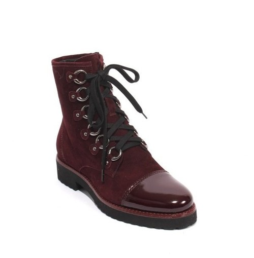 Burgundy Suede Patent Leather Zip Lace Ankle Boot