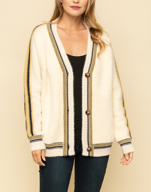 Oversized Cardigan With Colorful Stripe