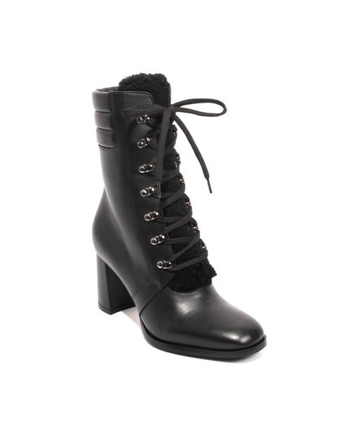 Black Leather Fur Lace Zip Mid-Calf Heel Boots