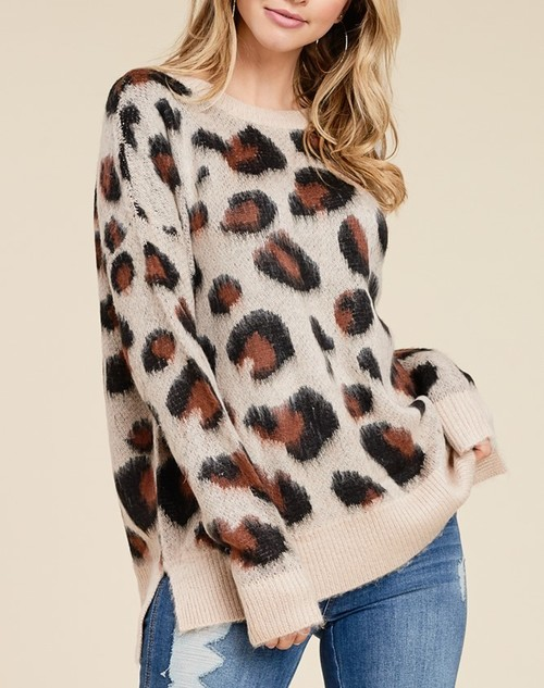 Crew Neck Brushed Leopard Sweater