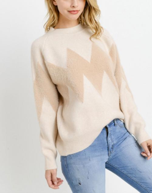 Knit Chevron Long Sleeve Sweater