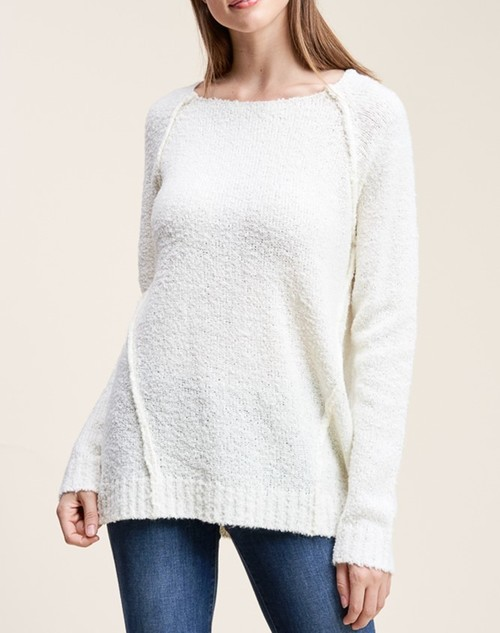 Pullover Sweater Boat Neck Raglan Sleeve