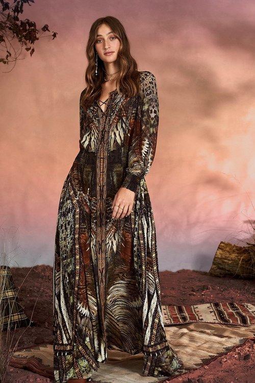 Lace Up Dress w/ Blouson Sleeve