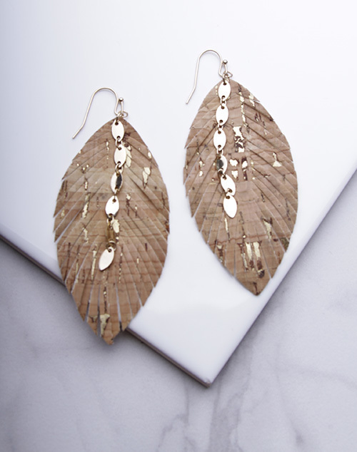 Leather Feather Detail Dangle