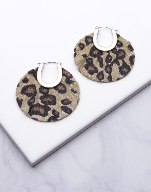 Large Leopard Print Fringed Circle Dangle