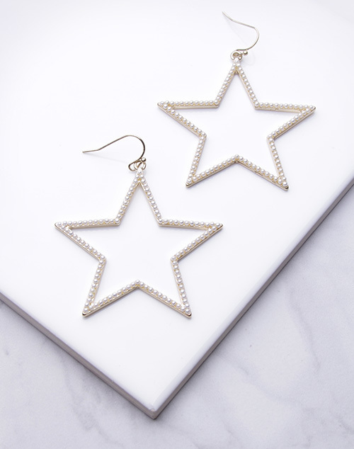 Large Star Pearl Lined Dangle