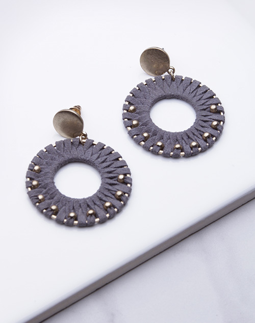 Circle Suede Studded Dangle - Gold