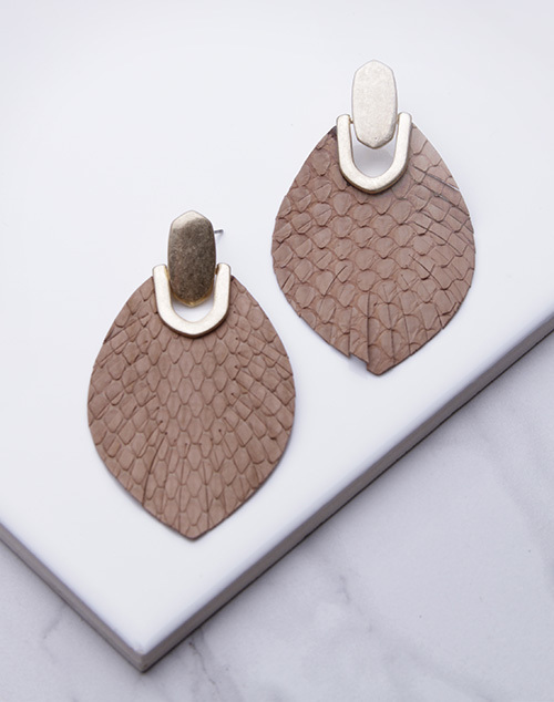 Snake Print Leather Teardrop Dangle