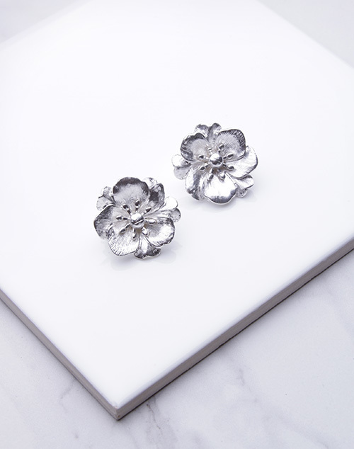 Large Metal Flower Clip On Earring