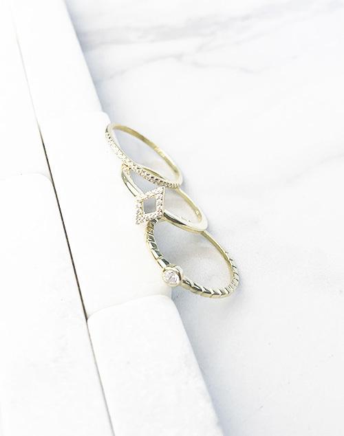 Diamond Shape CZ Stack Ring