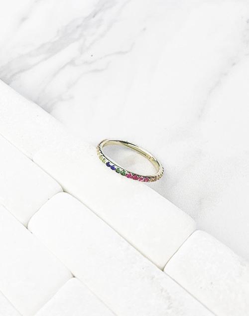 Rainbow CZ Infinity Band Ring
