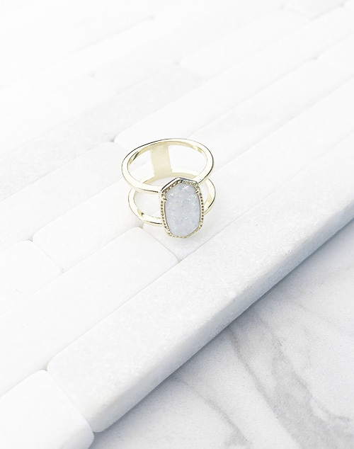 Oval Double Band White Opal Ring
