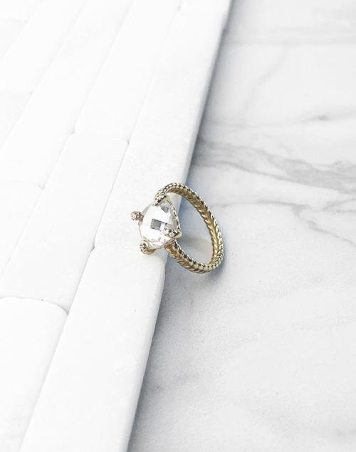Braided Large Stone Band Ring