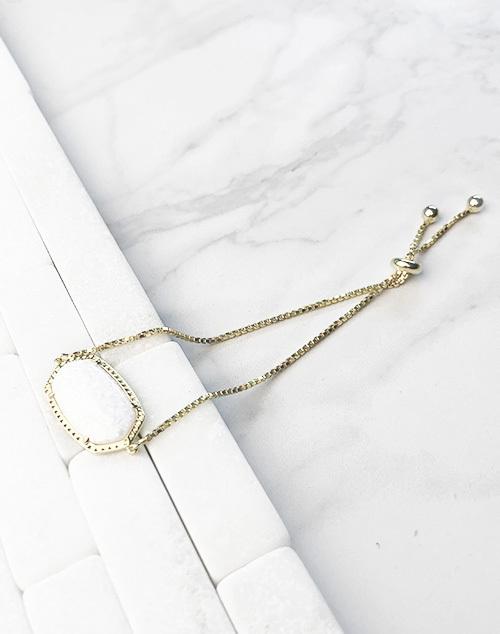 Oval White Opal Pull Bracelet