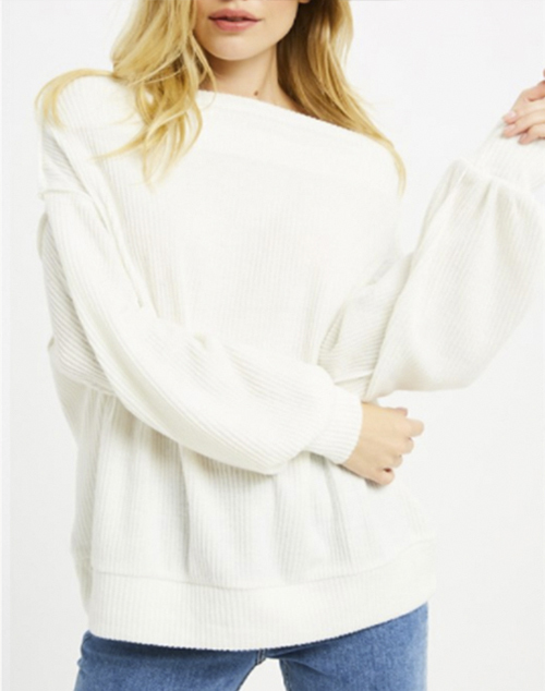 Off The Shoulder Brushed Rib Pullover
