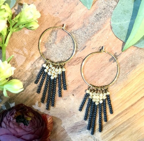 Harlow Black Beaded Tassel Earrings