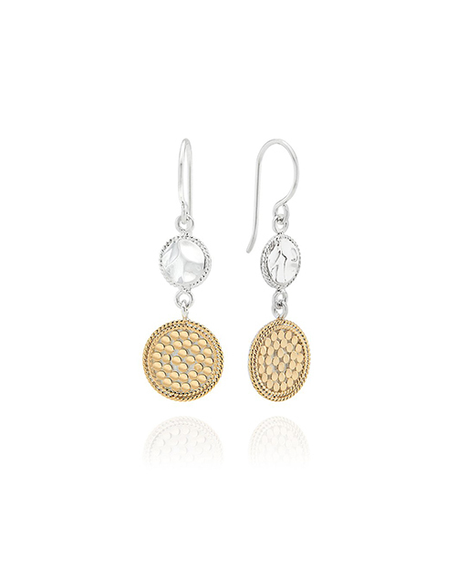 Hammered Dotted Double Drop Earring Gold Silver