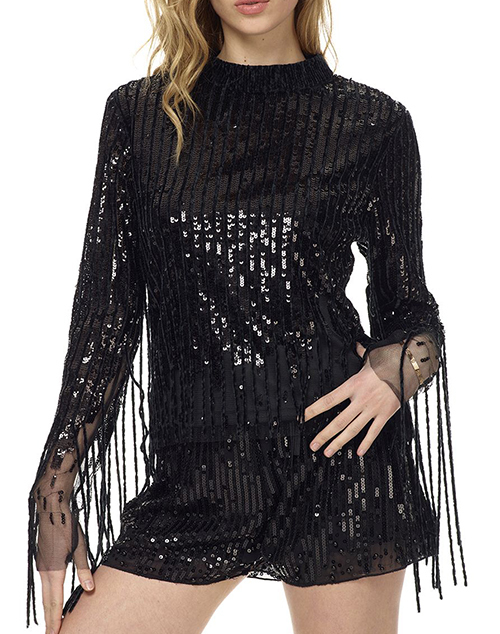 Sequin Fringe Top