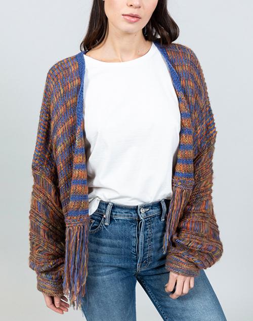 Space Dye Fringe Open Sweater