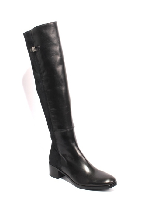Black Leather / Suede Stretch Over-the-Knee Boots