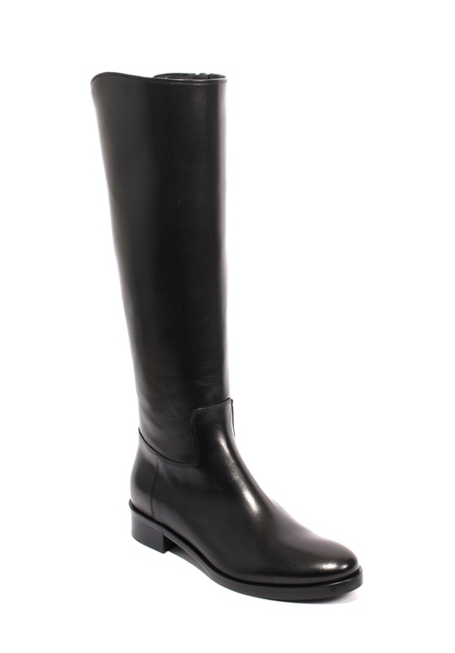 Black Leather Stretch Zip Knee High Boots