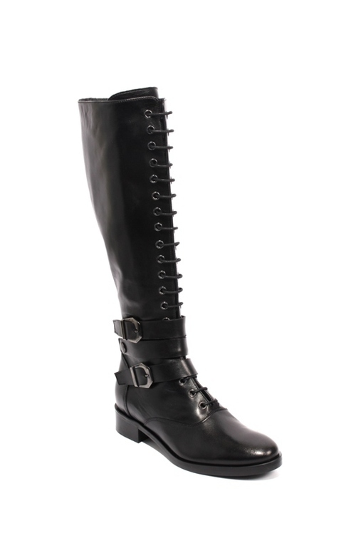 Black Leather Lace-Up Zip Buckle Knee-High Boots