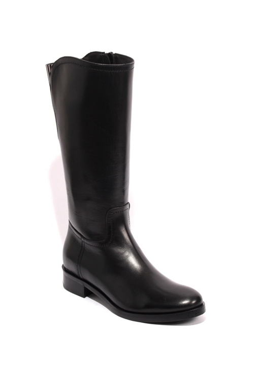 Black Metallic Leather Elastic Mid-Calf Zip Boots
