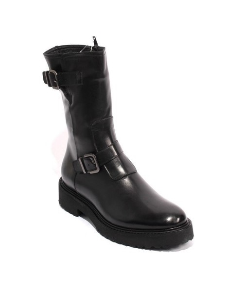 Black Leather Shearling Zip Buckle Mid-Calf Boots