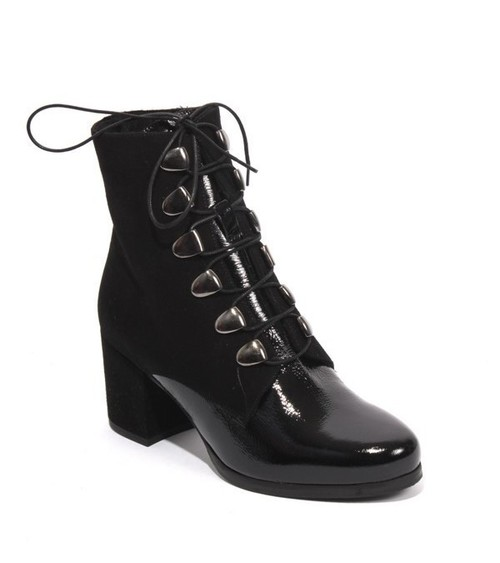 Black Suede Leather Fur Lace Zip Ankle Heel Boots