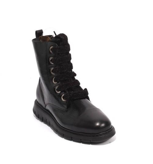 Black Patent Leather Fur Zip Lace Ankle Boots