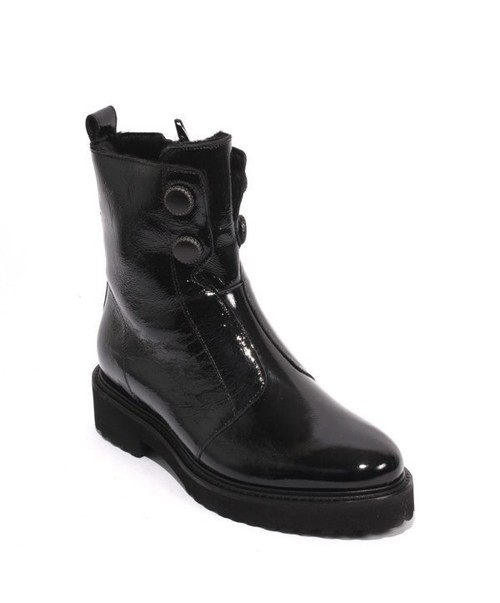 Black Patent Leather Shearling Zip Ankle Boots