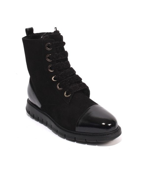 Black Suede Patent Leather Fur Zip Lace Ankle Boot