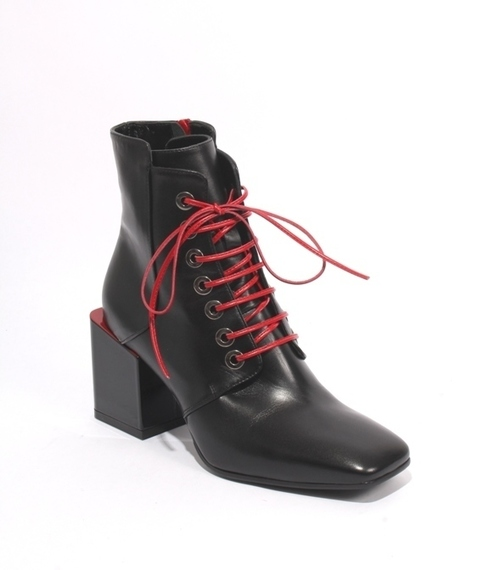 Black Red Leather Lace Zip Ankle Heel Boots