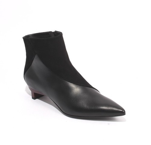 Black Leather Suede Zip Pointy Toe Ankle Boots
