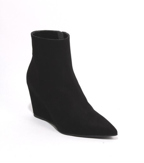 Black Suede Pointy Toe Ankle Wedge Boots