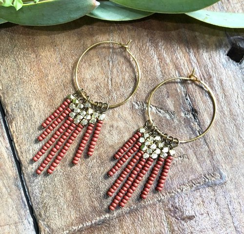 Rust Beaded Tassel Earrings