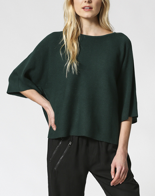 Cropped Knit Wide Short Sleeve Top