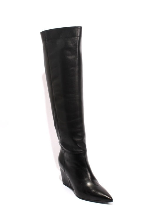 Black Leather Pointy Pull On Wedge Boots