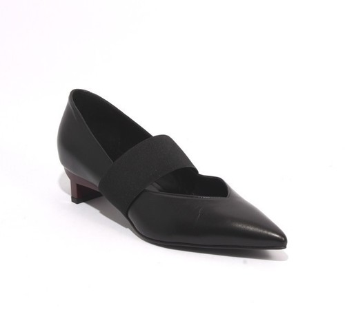 Black Bordo Leather Stretch Pointy Heel Shoes