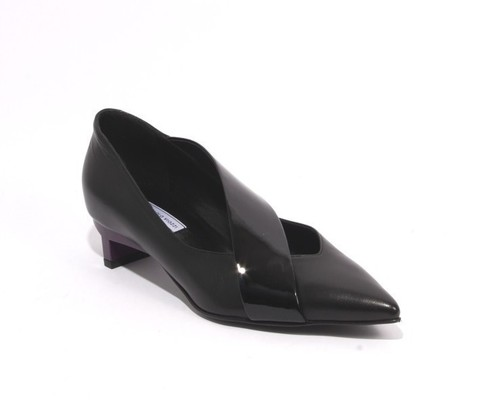 Black Purple Leather / Patent Pointy Heel Shoes