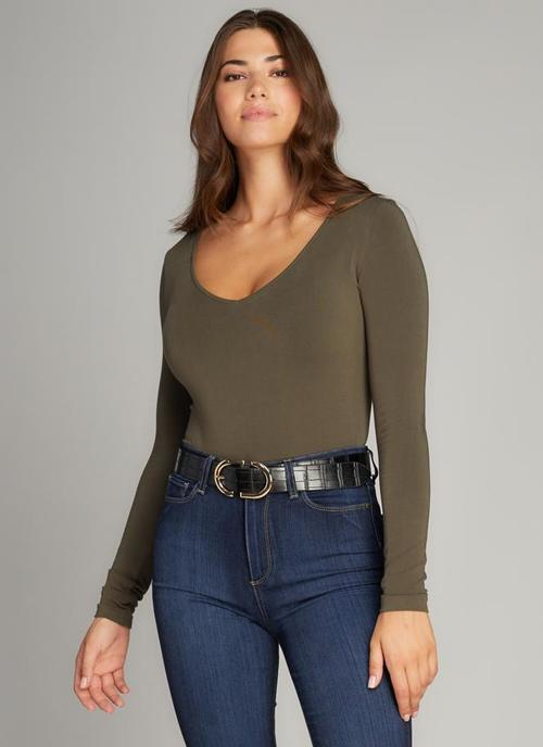 Olive Bamboo V Neck Body Suit